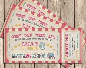 Circus Birthday Invitation Girl, Pink. Circus Invitation. Circus Party. Vintage Circus Ticket - Printable Invitation OR Printed Invitation
