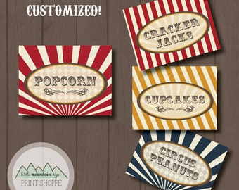 Circus Printable Food Labels CUSTOM - Vintage Circus Food Labels or Place Cards - Tent Cards