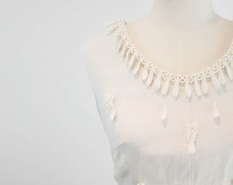 Vintage 1960s Ivory-White Tassle Short Dress – Connie Dress