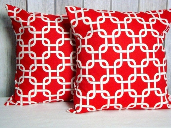Red Throw Pillow Covers Set of Two 20x20