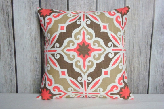 Coral Pillows. Coral and Brown Pillows. 18x18 Pillows. Modern Pillows. Accent Pillows. Sofa Pillows