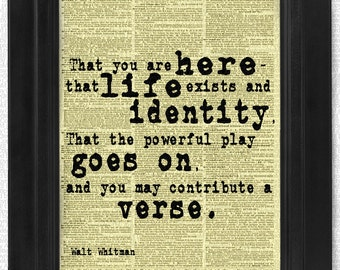 """Walt Whitman """"You Are Here"""" Quote, art print, dictionary Art, Book Art, wall Decor, Wall Art Mixed Media Collage"""