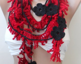 Crazy scarf, Red fiber scarf, Red black scarf, Crochet flower, necklace scarf. Red lariat. Black crochet scarf, fiber scarf, summer scarf