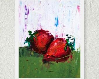 Strawberry Print, Fine Art Print, Fruit Print, Red Kitchen Decor, Contemporary Print, Still Life Print, Botanical Print, Food Wall Art
