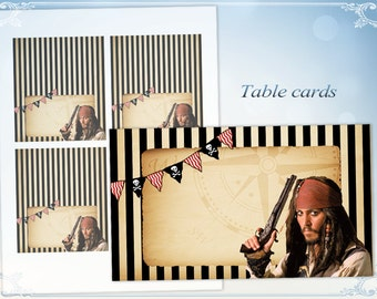 Pirate birthday party Place cards Food tents Table cards Name cards Blank cards Jack Sparrow Pirates of the Caribean