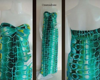 Green Strapless  long maxi dress evening sun beach dress