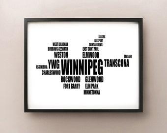 Winnipeg Typography Map, Prairie, Font Poster, Manitoba Print, MB, Wall Art, Dorm Room Decor, Gift Idea