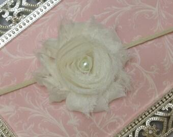 Baby Headband - Ivory Flower Headband- Ivory Headband - Toddler Headband - Ivory Baby Headband  - Baptism Headband