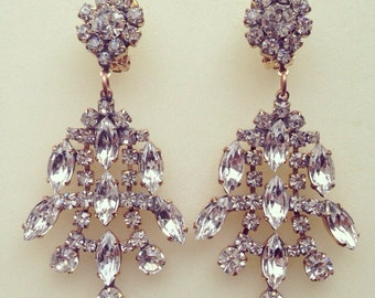 Luxury wedding/bridal/prom/evening/vintage clear crystal chandelier earrings with clips