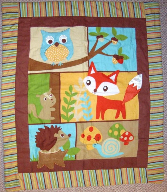 Woodland Creatures Quilt Baby Blanket Or Lap Quilt Handmade