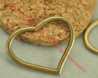 wholesale 100pcs Antiqued bronze heart  connector charms findings