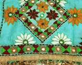 Vintage Dupatta Long Scarf Indian Hijab Pure Silk Embroidered Fabric Veil Green Stole Woman Wrap DP11152