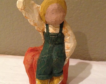 Carvin Copies Wood Carved Angel Figurine on Pumpkin -Signed 94'