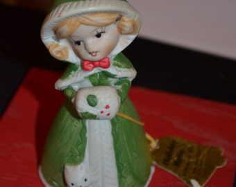"Vintage Bisque Porcelain ""Holiday Belle"" Bell Girl with Cat 1978, Jasco"