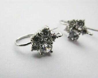 Sterling Silver Posts, CZ, Earrings findings, 925 Silver, AAA, One Pair