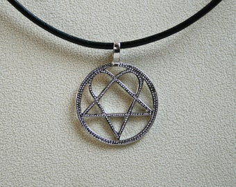 Heartagram jewelry etsy handcrafted dotty heartagram pendant heartagram set on a 3mm leather thong with aloadofball Choice Image