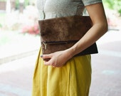Brown Suede Cloth Foldover Clutch with Navy Zipper
