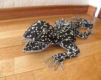 African Beaded Wire Animal  - LIZARD - Black & White