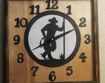 Wild West leaning cowboy clock