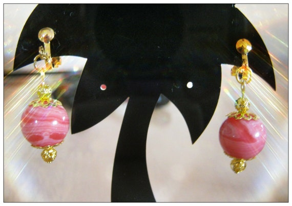 Handmade Gold Clip-On Earrings with Rhodonite by IreneDesign2011