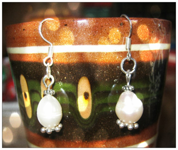 Handmade Silver Earrings with White Sea Pearls by IreneDesign2011
