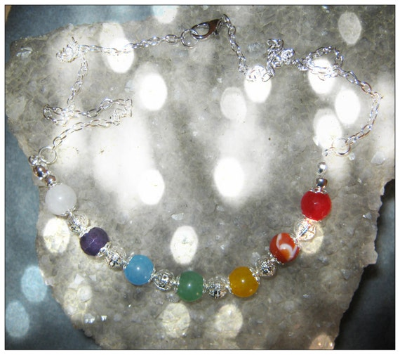Amazing Silver Chakra Necklace with 7 Gemstones