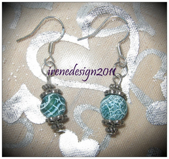 Handmade Silver Earrings with Green Frosted Vein Agate by IreneDesign2011