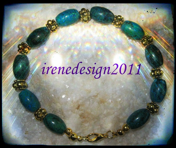 Handmade Gold Bracelet with Chrysocolla Rice by IreneDesign2011