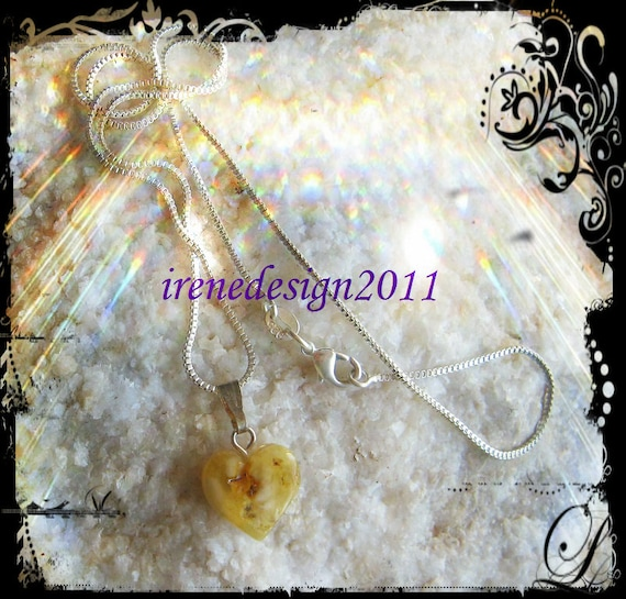Handmade Sterling 925 Silver Necklace with Amber Heart by IreneDesign2011