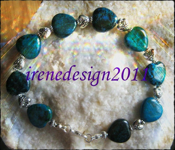 Beautiful Handmade Silver Bracelet with Chrysocolla & Silver Hearts by IreneDesign2011