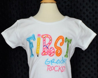 Personalized First Grade Rocks Applique Shirt or Onesie Girl or Boy