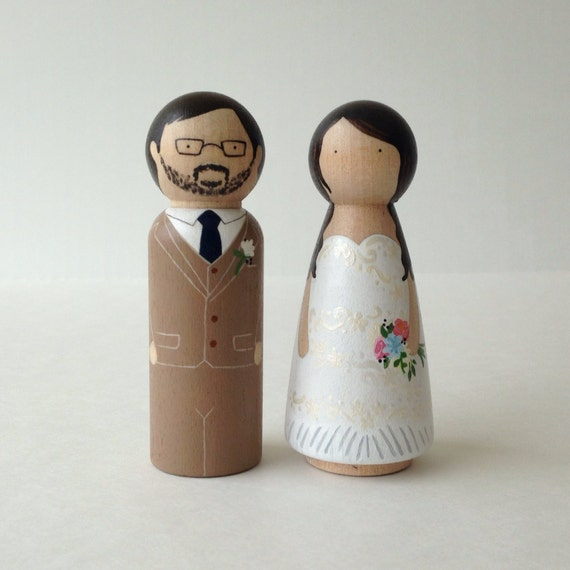 Custom Peg Doll Wedding Cake Topper