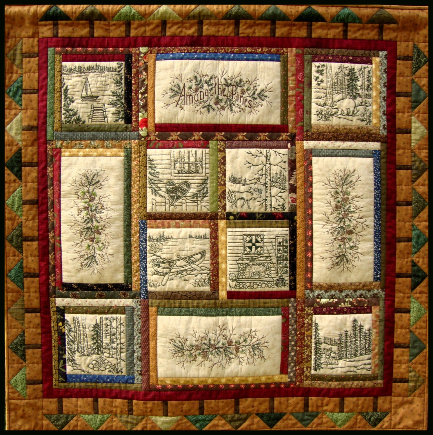 Among The Pines Quilt Pattern 10 Hand Embroidery Blocks