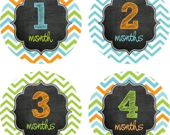 Baby Month Stickers Baby Monthly Sticker Boy Monthly Shirt Sticker Orange Blue Green Baby Shower Gift Photo Prop Baby Milestone Sticker 328