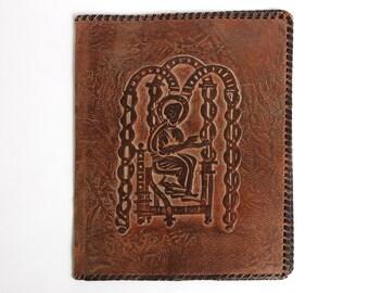 Vintage big brown leather folder, vintage office decor