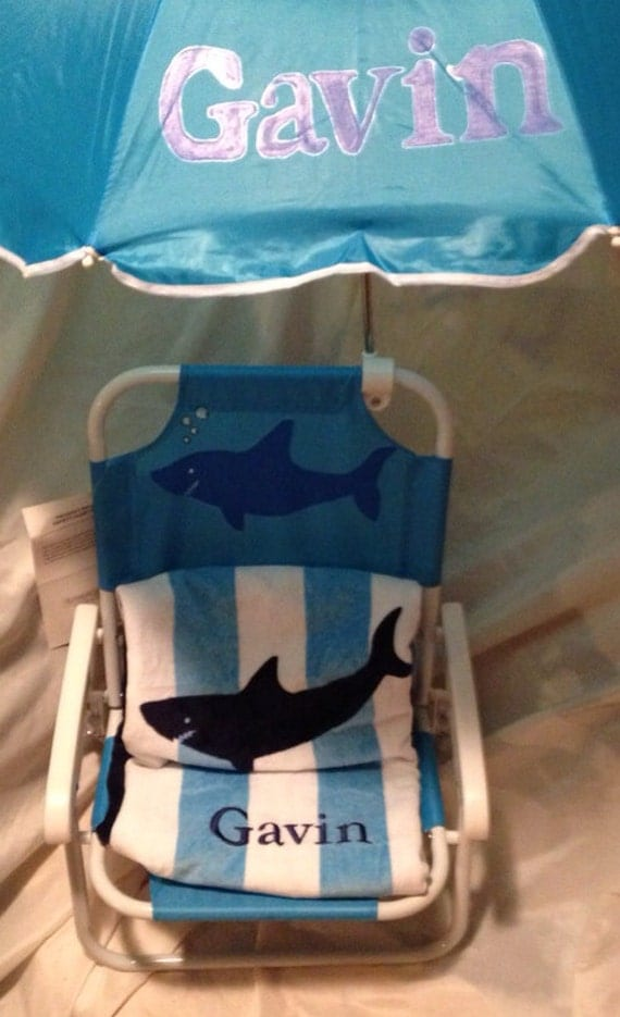 Personalized Kids Beach Chair With Umbrella