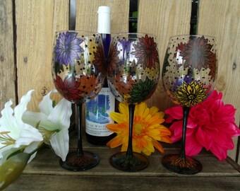 Set of 4 Hand painted wine glasses flowers