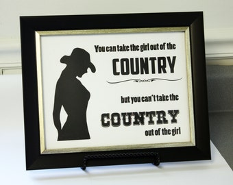 Country Girl Silhouette - 8.5x11 Inspirational Art Print - Ready to Frame