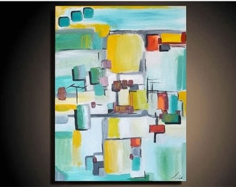 "36"" x 24"" Original Painting Canvas Modern Wall Art Geometric Abstract Contemporary Palette Knife Signed"