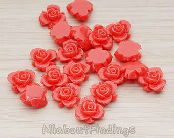 CBC200-03-DC // Deep Coral Colored Tiny Narcissus Flower Flat Back Cabochon, 6 Pc