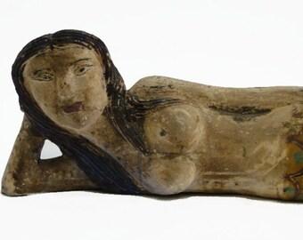 Antique Reproduction Mermaid Wooden Sculpture Figurehead