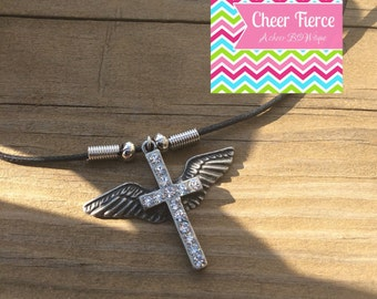 Angel Wing Cross Necklace - Silver & Rhinestone