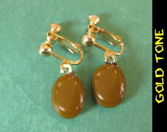Brown Clip On Earrings, Screwback, Dangle Clip Earring, ClipOn Drop Earrings, Fused Glass Jewelry - Tito - 343 - 2