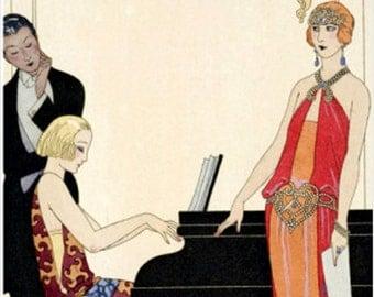 "Georges Barbier, Incantation, 1922, Illstration for the Gazatte, Fashion, Style. 8x10"" Cotton Canvas Print"