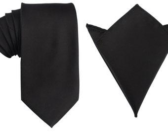 Matching Necktie + Pocket Square Combo Design Designer New Black (X260-T85+PS) Men's Handkerchief + Neck Tie 8.5cm Ties Neckties Wedding