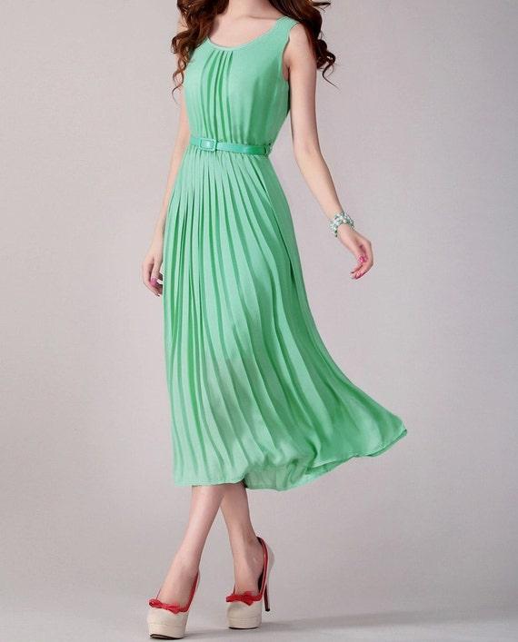Hnliche artikel wie kleid chiffon kleid lange kleid maxi kleid sommer kleid formales kleid - Plissee kleid lang ...