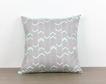 "Pillow cover--16""x16""--grey, mint, chevron, modern, handmade, accent pillow, throw pillow"