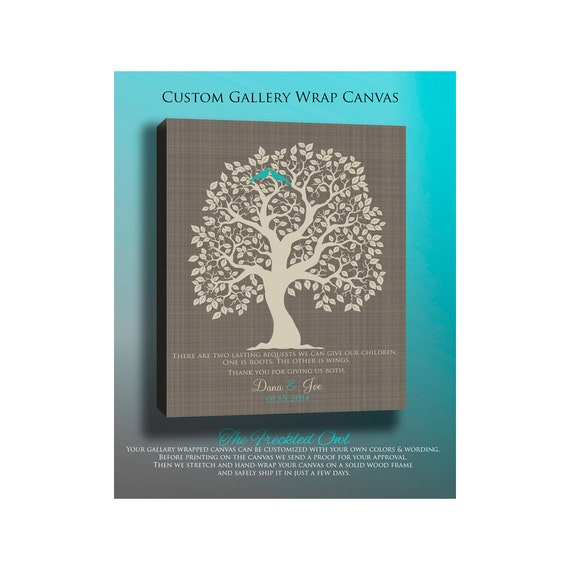 Personalized Wedding Gifts For Parents: CANVAS Wedding Gift For Parents Personalized Wedding Tree