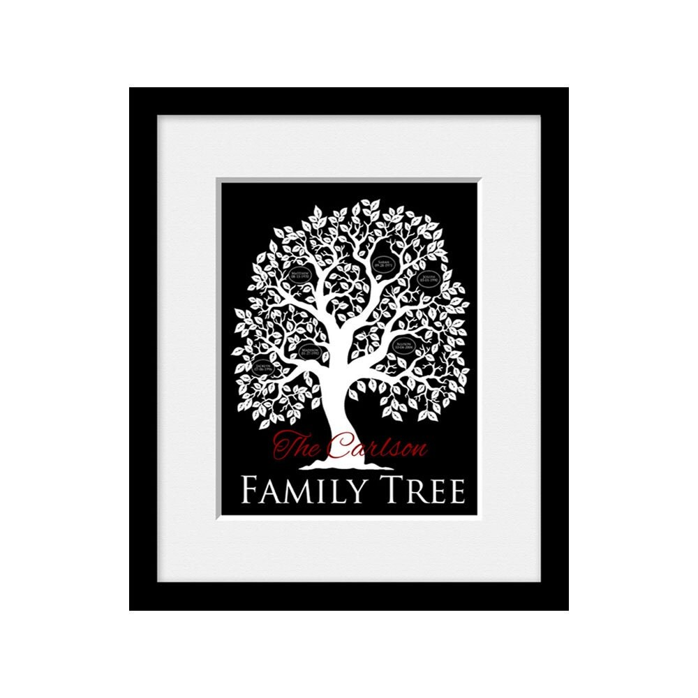 family tree wall art personalized anniversary gift for. Black Bedroom Furniture Sets. Home Design Ideas