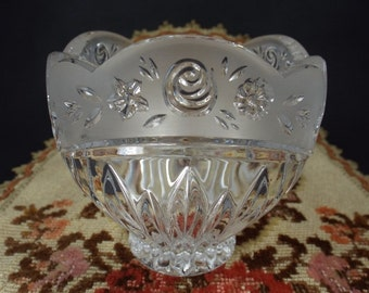 Vintage Frosted Crystal Bowl Etsy